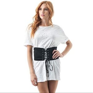 Forever Yours Distressed Corset T-Shirt Dress